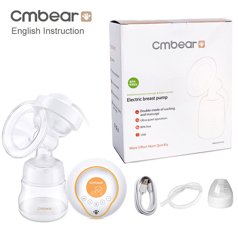 Cmbear Large Suction USB Electric Breast Pump Breast Feeding Advanced Automatic Massage Electric Breast Pumps Baby Bottles
