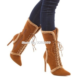 ALMUDENA Camel Color Suede Manmade Fur Patchwork Mid-calf Boots Pointed Toe Cross Lace-up Fall Winter Warm Boots Thin High Heels