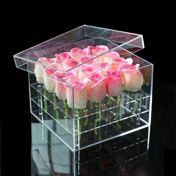 아크릴 소재 메이크업 organizer 상자 화장품 케이스 장미 꽃 상자 뚜껑 메이크업 organizer 저장소 상자 꽃