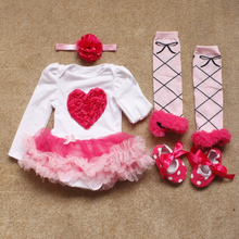 4PCs per Set Pink Love Flowers Baby Girls Long Sleeves Tutu Dress Headband Shoes Leggings for 0-12months Free Shipping