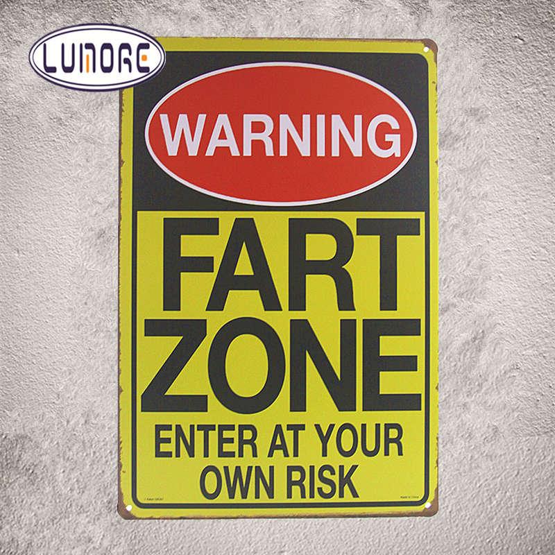 Металлический знак Предупреждение пердеть зоны .. Дизайн вертикальный Книги по искусству печатает Ресторан лаундж-бар Настенный декор J69