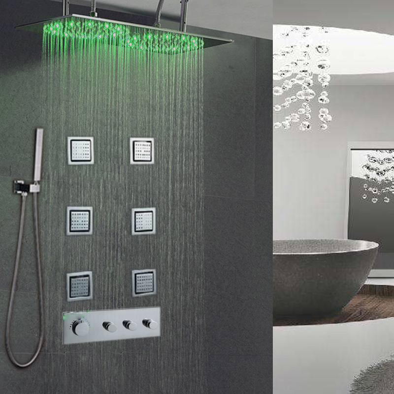 Quyanre Shower Faucet Led Rainfall Waterfall Shower Head Five Handles 6pcs Spa Jets Mixer Tap Faucets Tub Spout Bathroom Shower Bathroom Fixtures Back To Search Resultshome Improvement