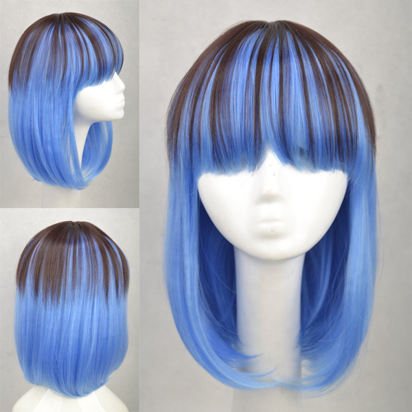 Short Light Dual Color Harajuku Straight Cosplay Wigs Heat Resistant Hair Can Be Shaped Free Shipping