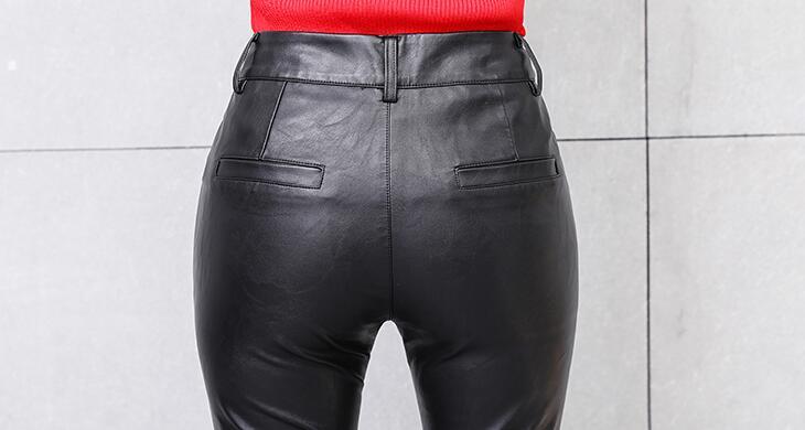 Mujeres Largos 2xl Las De Pantalla S Alta Caliente Recto Micro Nuevas Cintura Pantalones Primavera Negro Tubo 2019 Moda Pu Delgada UXx0xCwq
