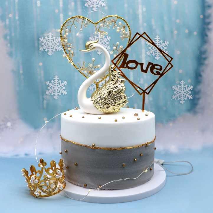 1 Pcs מכירה לוהטת ברבור קישוטי זהב ולבן ברבור עטוף חוט עוגת קישוטי יפה ברבור עוגת קישוטי עוגת ספקי