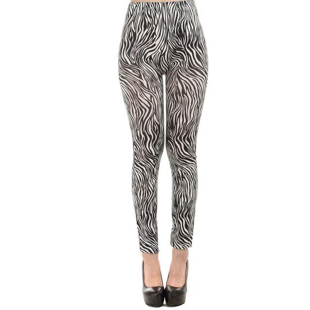 9089cdac4e435 2017 new fashion black and white vertical printed zebra leggings lady  street casual fittness legging girl slim ankle pants