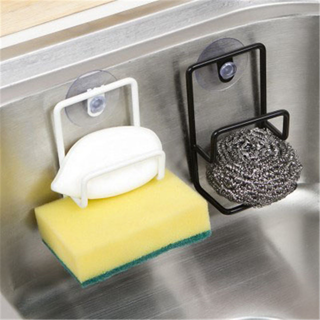 Wonderful Double Sink Sponge Rack Bathroom Kitchen Metal Racks Holder Shelf Sucker  Storage Rack Basket Sundries Storage