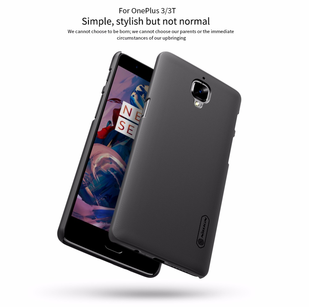 Oneplus 3 커버 One Plus 3t A3000 케이스 NILLKIN Super Frosted Shield caso 케이스 커버 Oneplus3 for Oneplus 3T + 선물