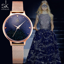 Shengke SK Luxury Fashion womem watch Starry Sky Rose Gold ladies dress Milan strap quartz casual watch female Relogio Feminino