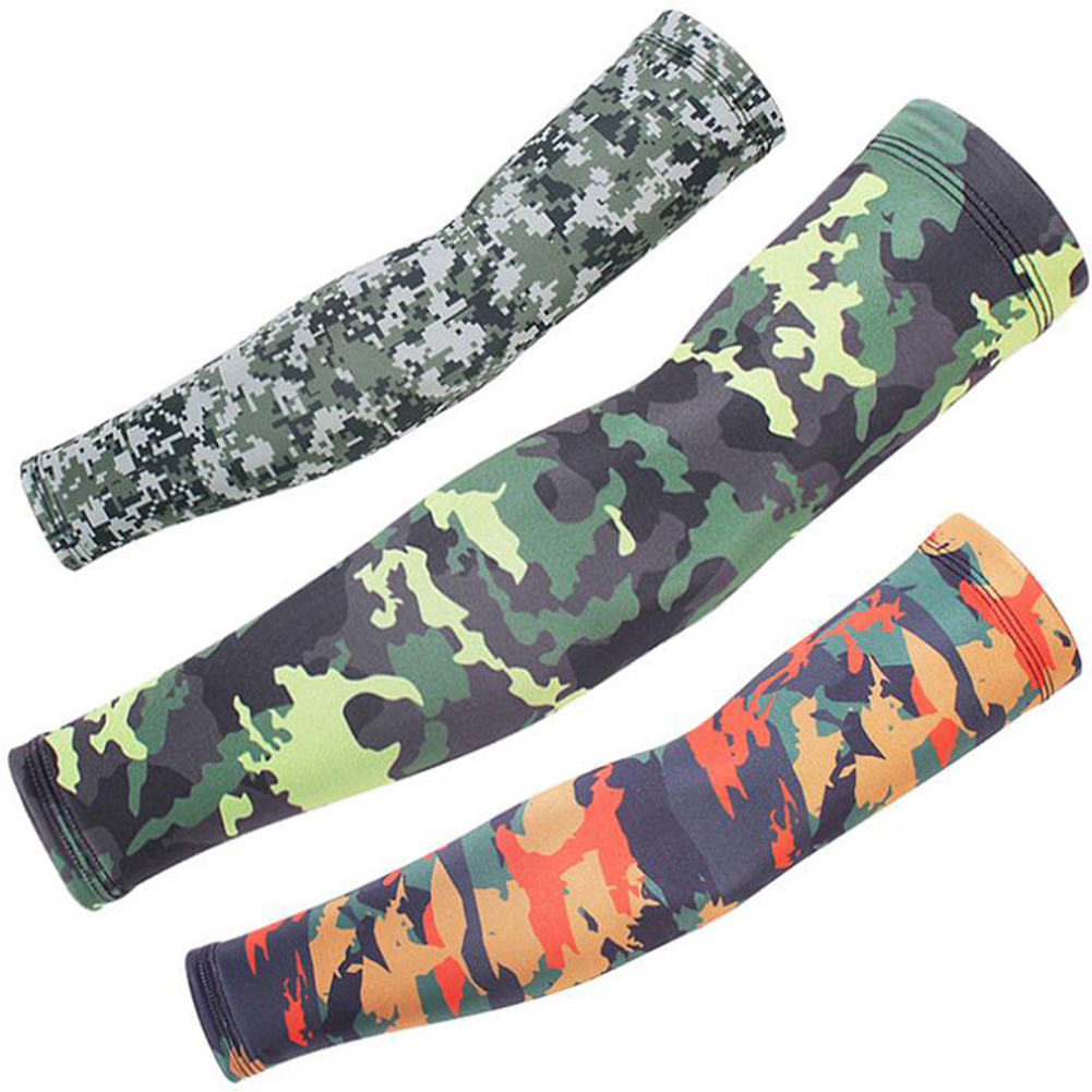 1 Pair UV Protection Cycling Arm Warmers Print Camouflage Sport Sunscreen Camouflage Arm Sleeves Travel Drive Summer Accessories