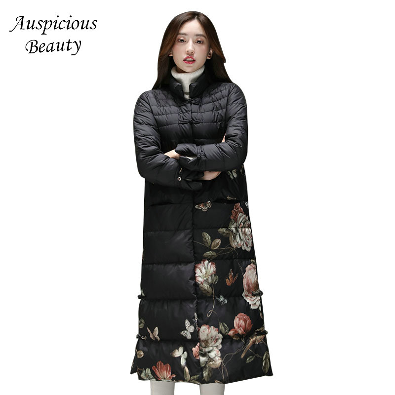 Women Winter Down Jacket Female Long Coat Plate Buckle Womens Stand Collar Printing Ethnic Wind Jacket Coat CX113