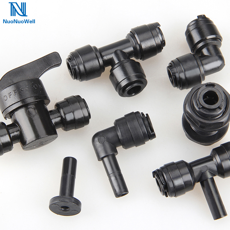 NuoNuoWell 1/4'' Pipe Tee Elbow Quick Connector End Cap Bulkhead Adaptor Aquarium Fittings Top Joints Anti-shedding