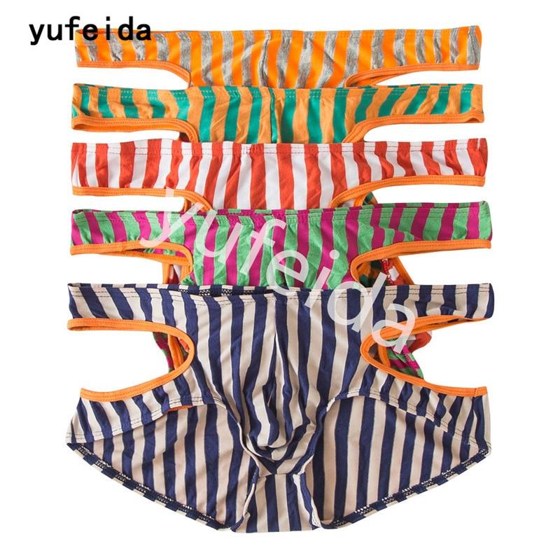 YUFEIDA 5PCS/Lot Men Striped Boxer Shorts Underwear Hollow Out Novelty Design Comfortable Cotton Panties Cueca Boxer Underwear