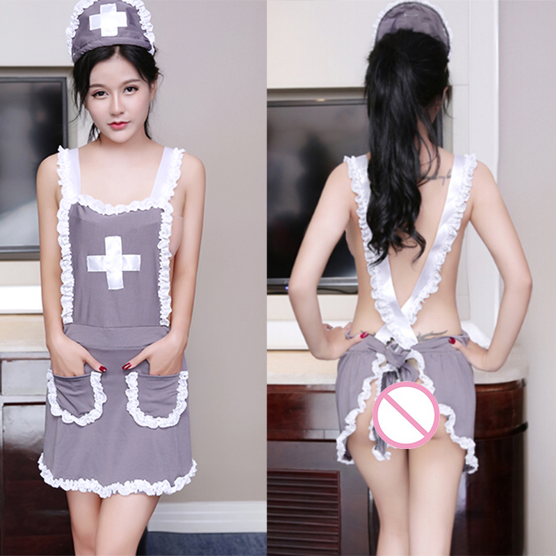1 Set <font><b>Sexy</b></font> Uniform Nurse Cosplay Babydoll Underwear Chemises <font><b>Lingerie</b></font> <font><b>Sexy</b></font> Erotic Costumes <font><b>Halloween</b></font> Role Play Grey Women image