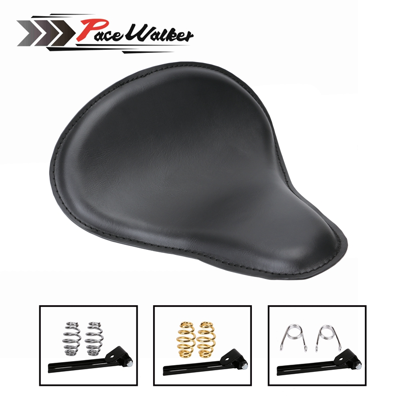 Motorcycle Leather Solo Seat+Bracket Mounting Kit Cushion Spring Base Metal for Sportster Bobber Chopper Leather Saddle Seat