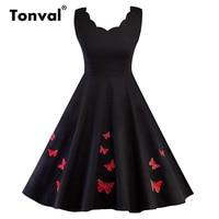 Tonval Embroidery Red Butterfly Elegant Dress Women Sleeveless Summer Robe Vintage Party Dress Black Swing Dress