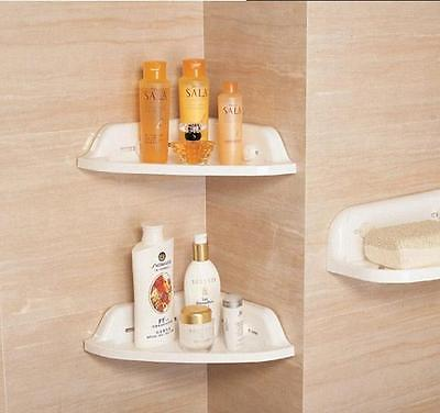 New White Plastic Bathroom Corner Shelf Rack Heavy Duty Storage Tray Wall Er Edge Organizer In Holders Racks