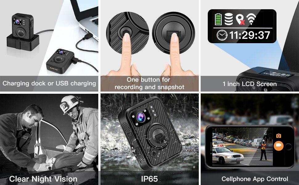 BOBLOV Wifi полицейская камера 64GB F1 Body Kamera 1440P изношенная камера s для правоприменения 10H запись gps ночное видение DVR рекордер - 5