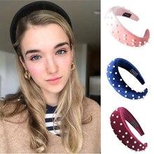 Pearl Sponge Velvet Headband For Women Girls Padded Headband Solid Wide Hair Band Thick Plastic Fashion Women Hair Accessories