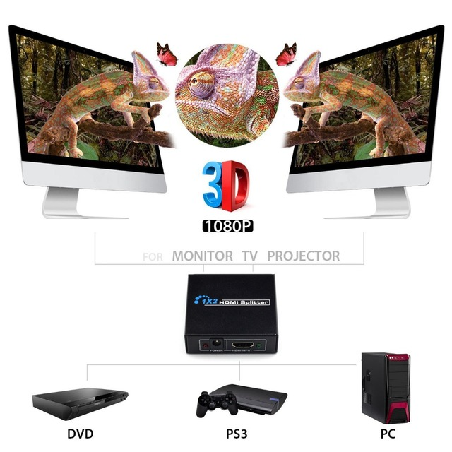 AIXXCO 4k HDMI Splitter Full HD 1080p Video HDMI Switch Switcher 1X2 1X4 Split 1 in 2 Out Amplifier Display For HDTV DVD