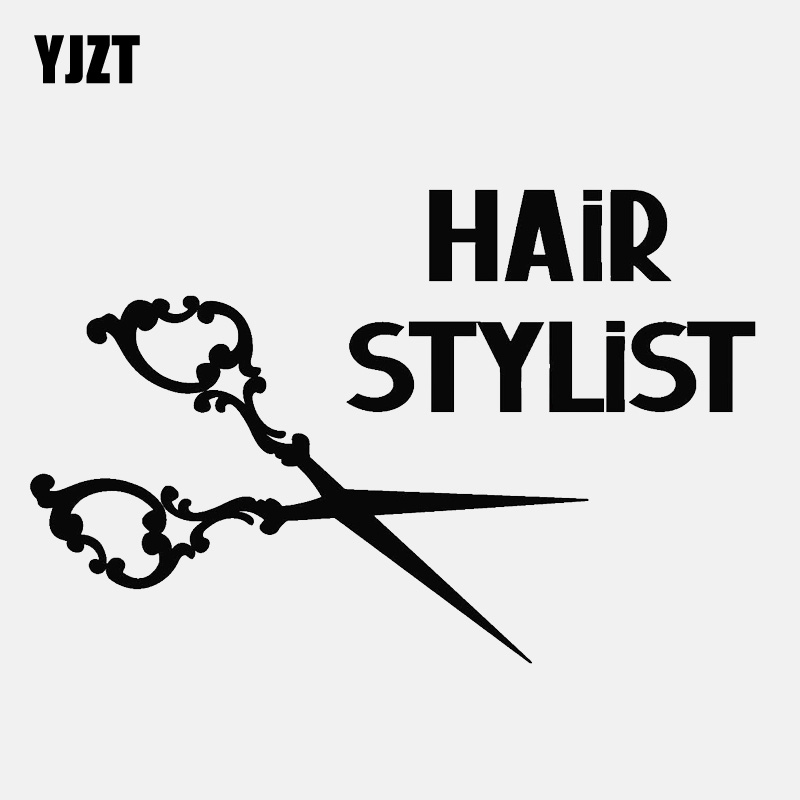 YJZT 13.6CM*8.9CM Car Sticker Hair Stylist Scissors Barber Shop Beauty Vinyl Decoration Decal C22-0100