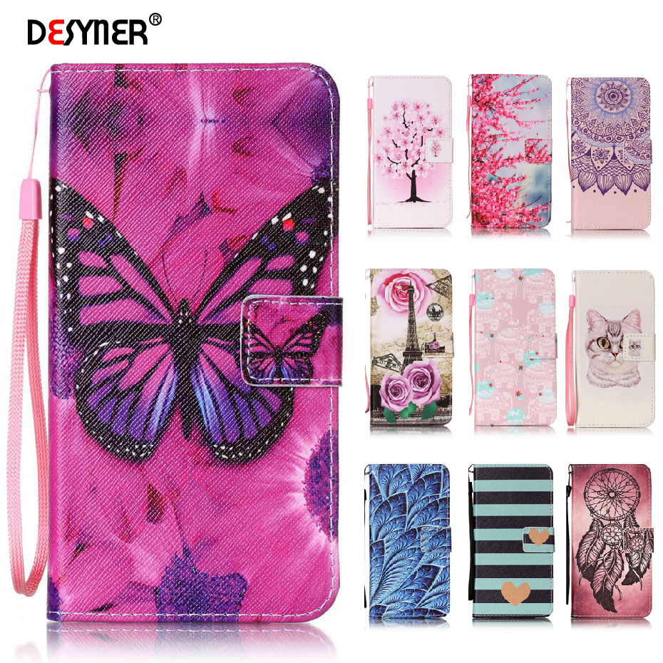 Desyner Phone <font><b>Case</b></font> For <font><b>Huawei</b></font> P8 P9 lite 2017 Nova <font><b>Honor</b></font> <font><b>7</b></font> 8 4C 5C Fashion Colorful <font><b>Flip</b></font> PU leather Cover With Stand Card Slot image