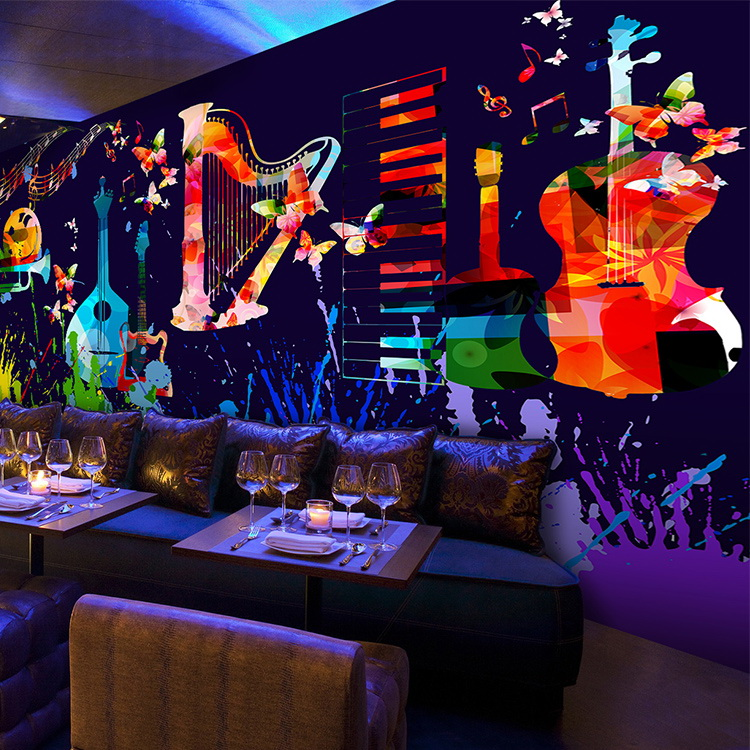 Free Shipping Large murals theme music bar KTV personality wallpaper 3D TV background wall notes colorful wallpaper mural