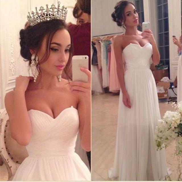Vestido De Noivas 2017 Brautkleid Chiffon Pleated Wedding Dress ...