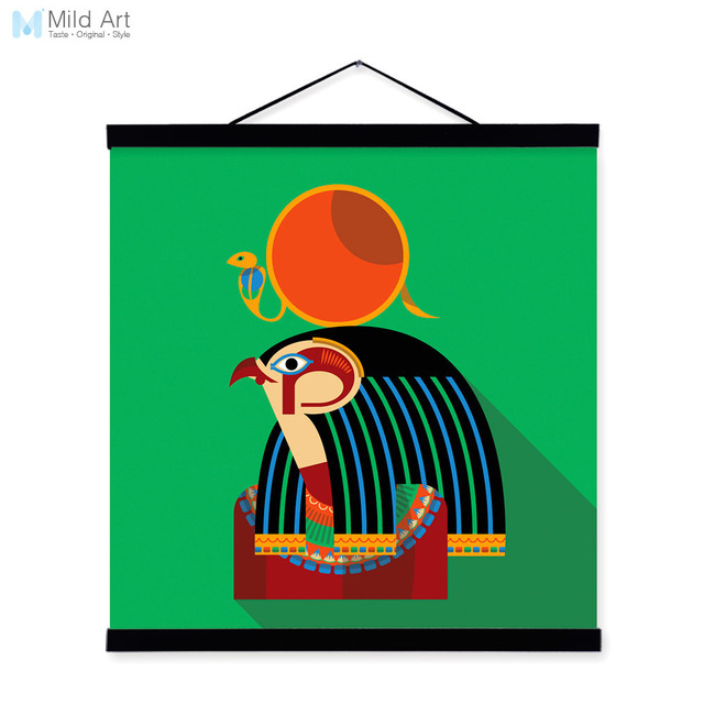 Ancient Africa Egypt God Portrait Totem Abstract Wooden Framed Canvas Painting Wall Art Print Picture Poster