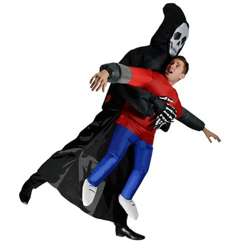 Halloween Scary Suit Inflatable Illusion Skull Adult Halloween Costumes for Women Men Cheap Ghost Skeleton Fancy Dress