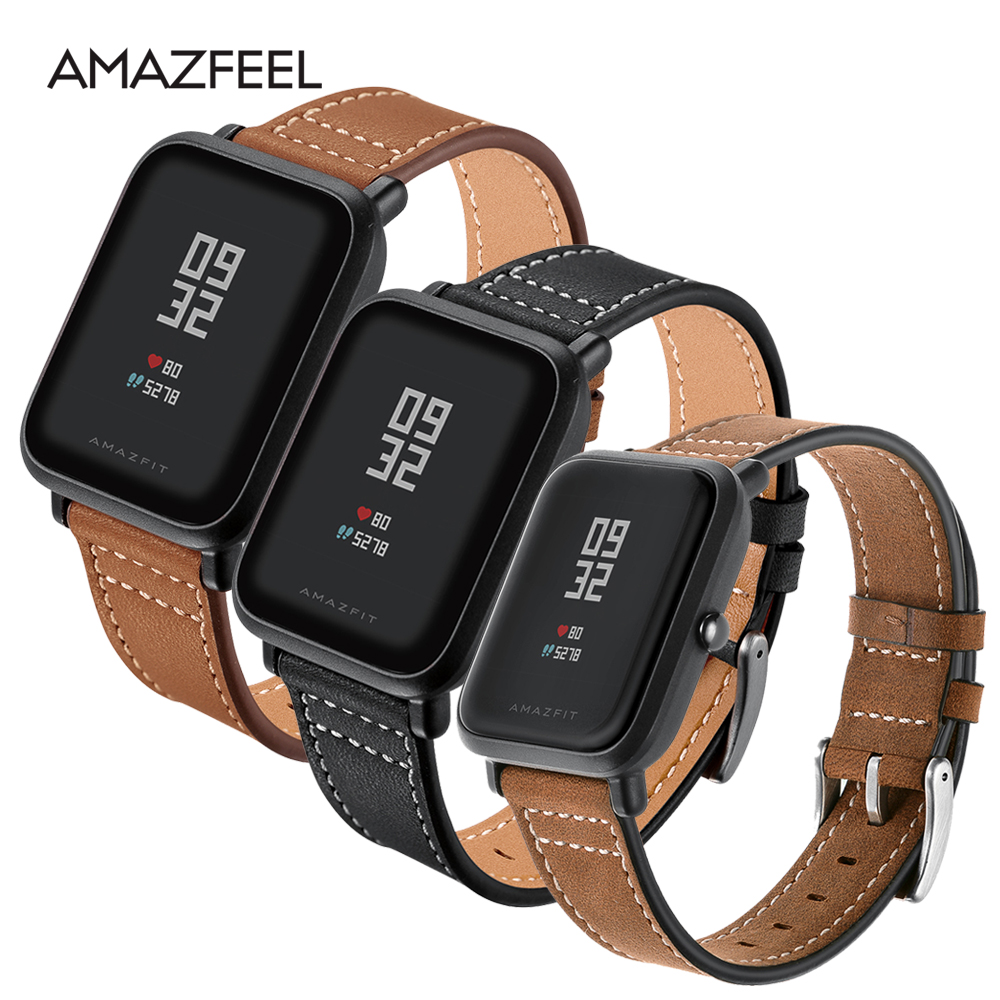 AMAZFEEL 20mm Genuine Leather Strap for Xiaomi Huami Amazfit Bip BIT Smart Watch Bracelet for Xiaomi Amazfit Band Strap