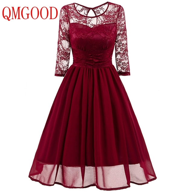 QMGOOD Elegant Womans Chiffon Lace Dress Brand Ladies Girl Prom Birthday  Dresses Women Retro Big Swing Lace Party Dress Vestido d2bb595278