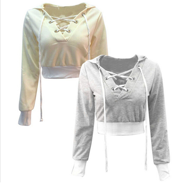 NQ Womens Bandage Casual Drawstring Hoodies Hooded Outwear