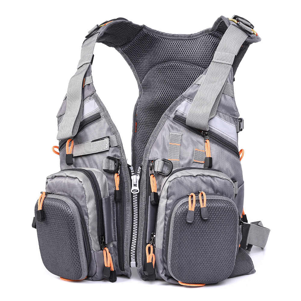 Blusea Mesh Fly Fishing Vest Multifunction Breathable Backpack Fishing Vest Fast Drying Lure Reel Fishing Gear Vests Pesca