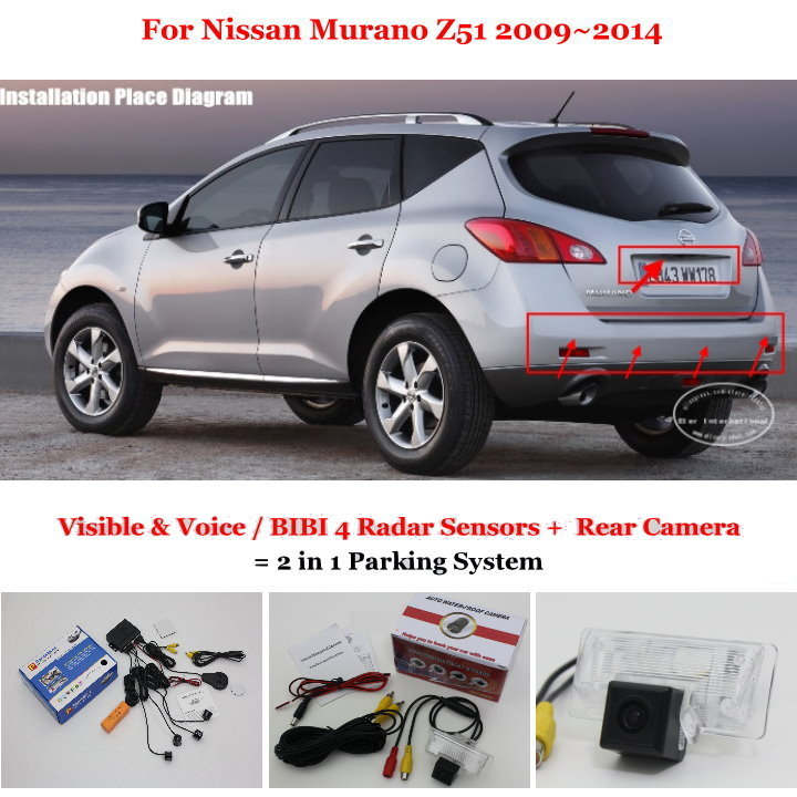 Liislee Car Parking Sensors + Rear View Camera = 2 in 1 Visual / BIBI Alarm Parking System For Nissan Murano Z51 2009~2014 car parking sensors rear view camera 2 in 1 visual bibi alarm parking system for subaru forester sj 2012 2015