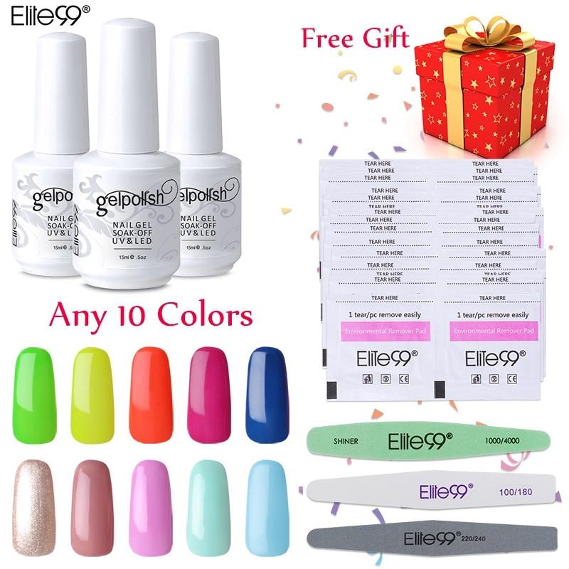 Elite99 Pick 10 Colors Long Lasting Soak Off UV Gel Nail Polish Remover Wraps Sanding Nail Files Buffer Polisher Nail Art Set