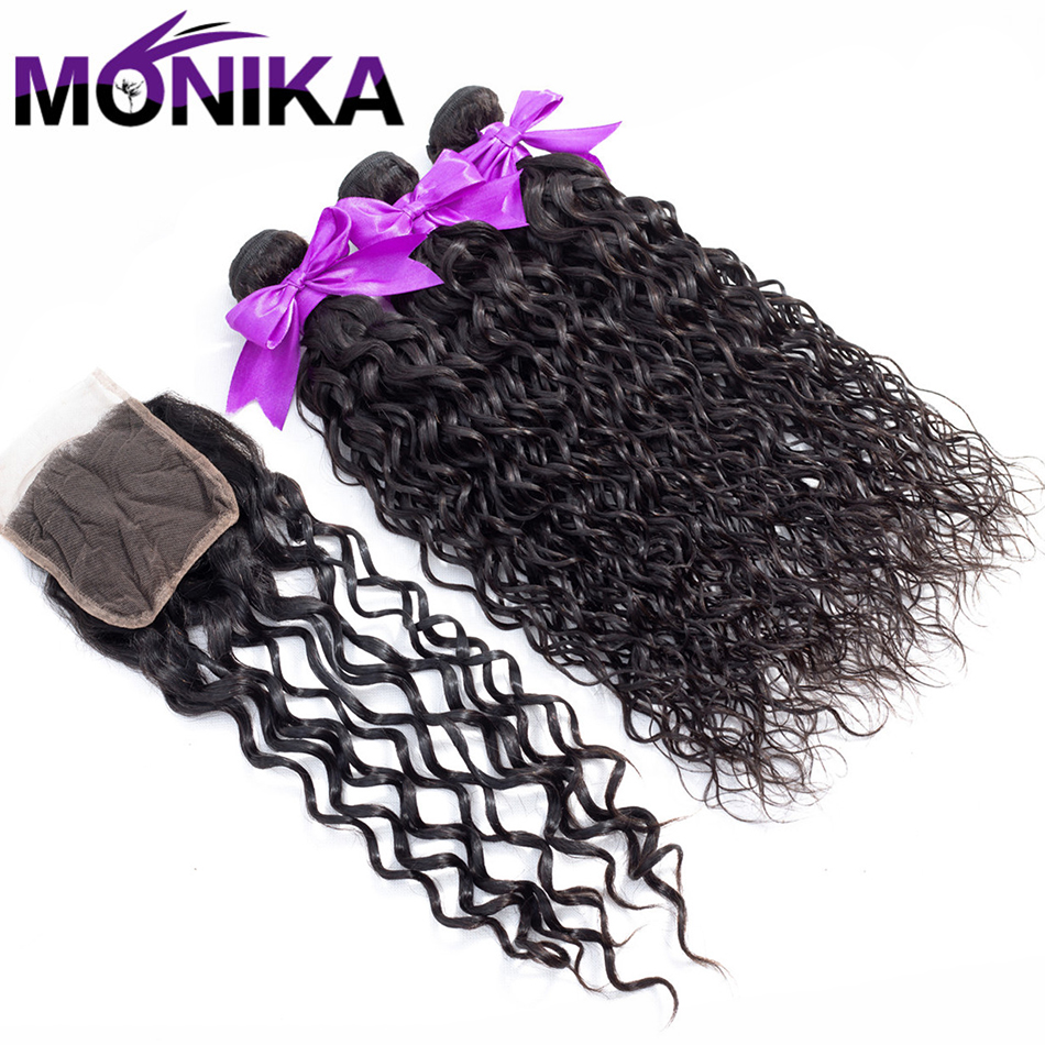 Monika Hair Brazilian Water Wave Bundles Human Hair Weave 3 Bundles Non Remy Hair Bundles With Closure