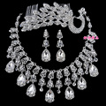 fashion Parure crystal peacock hair comb tassel necklace earrings jewelry sets three piece sets bridal wedding accessories