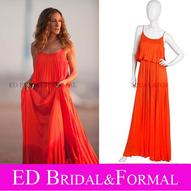 b10094ab7bd5 Sarah Jessica Parker Red Pleated Dress in the Sex and the City 2 Chiffon Celebrity  Evening