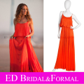 Sarah Jessica Parker Red vestido plisado in the Sex and the City 2 de la gasa de Celebrity vestido de noche