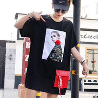 Character Printing T Shirt Women Sequin Short Sleeve T Shirt Dress with Red Pockets Loose Hip Hop T Shirt Tops