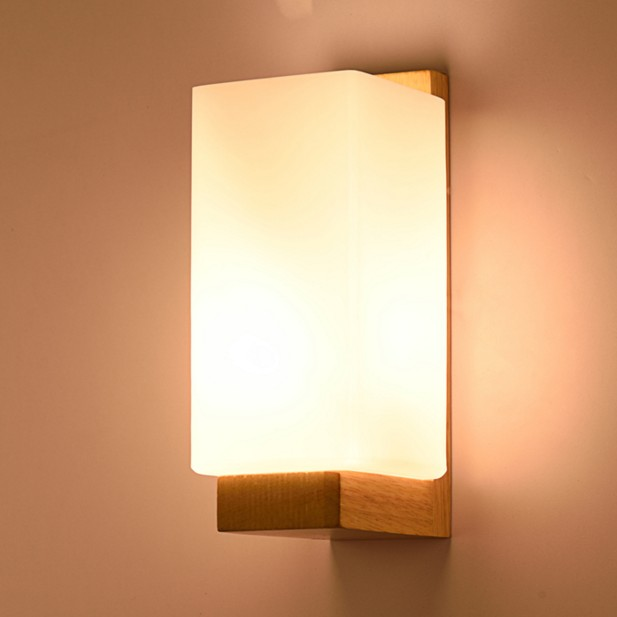 Modern wall lamp minimalist entrance hallway stairs bedside lamp bedroom lamp Wood glass lampshade tatami wall lighting fixtureModern wall lamp minimalist entrance hallway stairs bedside lamp bedroom lamp Wood glass lampshade tatami wall lighting fixture