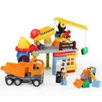 Big Size Building Block Bricks Construction Site Transport Vehicle Set Toys for Children Compatible with L Brand Duploe Babys