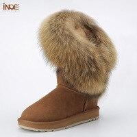 Moda krowa zamszu INOE natura fox fur frędzle wysokiej winter snow boots dla kobiet buty zimowe brązowy czarny darmo wysyłka