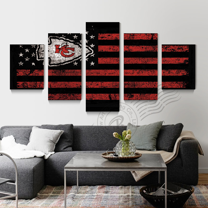 5 Panel Kansas City Chiefs Sports Flag Logo Canvas Poster Oil Painting Art Wall Picture For Living Room Prints Unframd BR0161