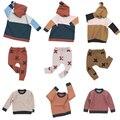 TC série Bobozone moda outono inverno 2016 crianças das crianças camisola fio calças roupa das crianças set crianças presell