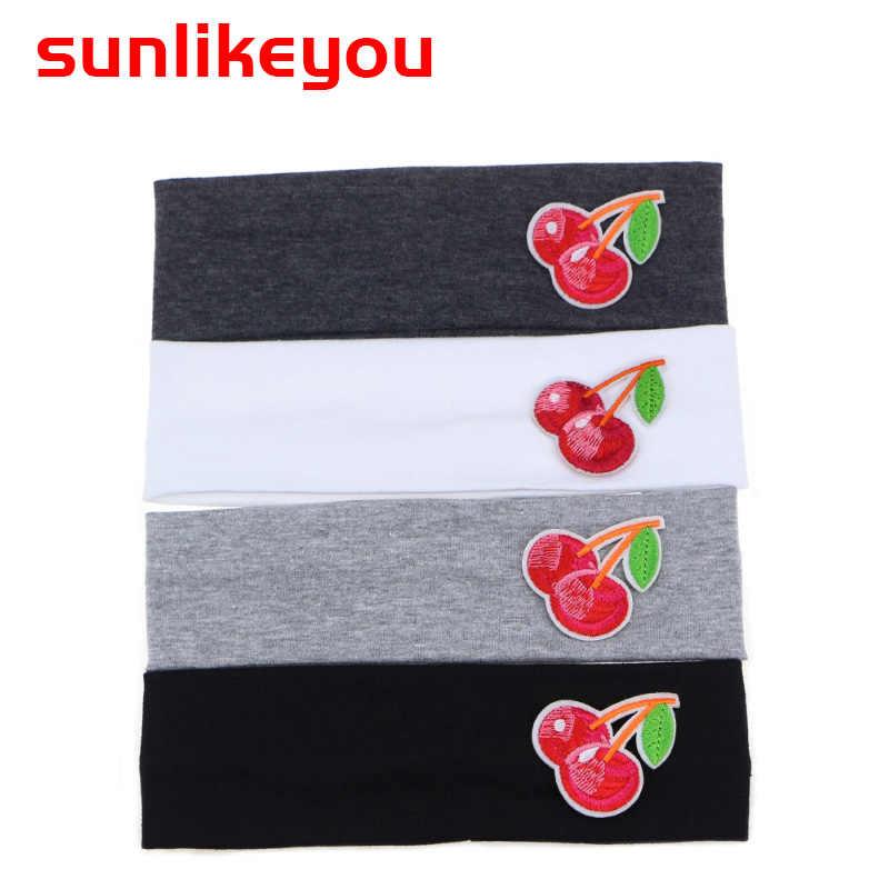 Sunlikeyou вишня вышивка эластичная хлопковая повязка на голову унисекс новорожденный дышащий впитывающий пот мальчик ободки для девочек