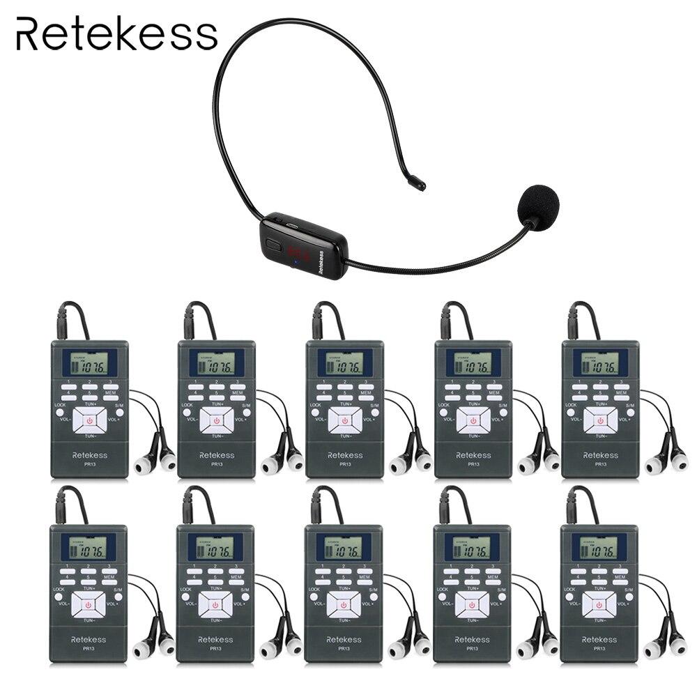 Wireless Voice Transmission System 1 FM Transmitter TR503 10 FM Radio Receiver PR13 for Guiding Church
