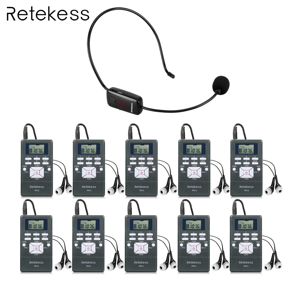 Wireless Voice Transmission System 1 FM Transmitter TR503 + 10 FM Radio Receiver PR13 for Guiding Church Meeting Training