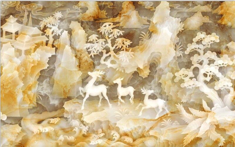 Последние 3D обои, 3D красивые китайский нефрит резьба живопись Papel де Parede, ТВ стены гостиной диван спальне обои